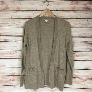 J. Crew Open Cardigan Sweater Tan Long Sleeve Lrg